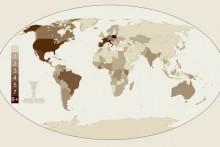 Mapa świata ze wskazaniem liczbowym pielgrzymek papieża Jana Pawła II